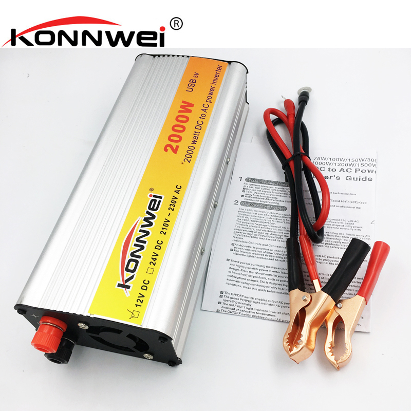 KONNWEI 2000W Inverter Car Vehicle Voltage Inversor USB DC 12V to AC 220V Power Inverter Adapter Converter Car Travel Convert