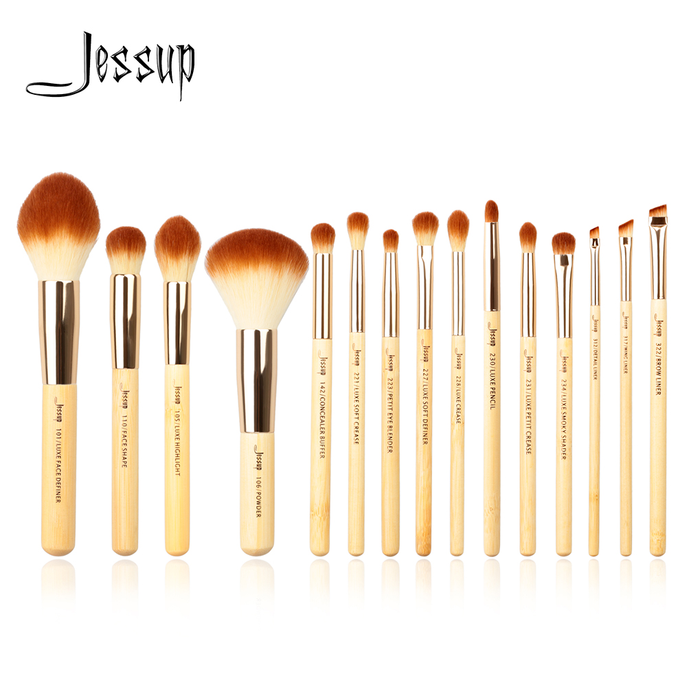 Jessup Brand 15pcs Beauty Bamboo Professional Makeup Brushes brush Set Make up Tools kit Foundation Powder cosmetics high quality 12 18 24 pcs toothbrush shape makeup brush set cosmetics makeup make up metal brushes beauty tools powder brush