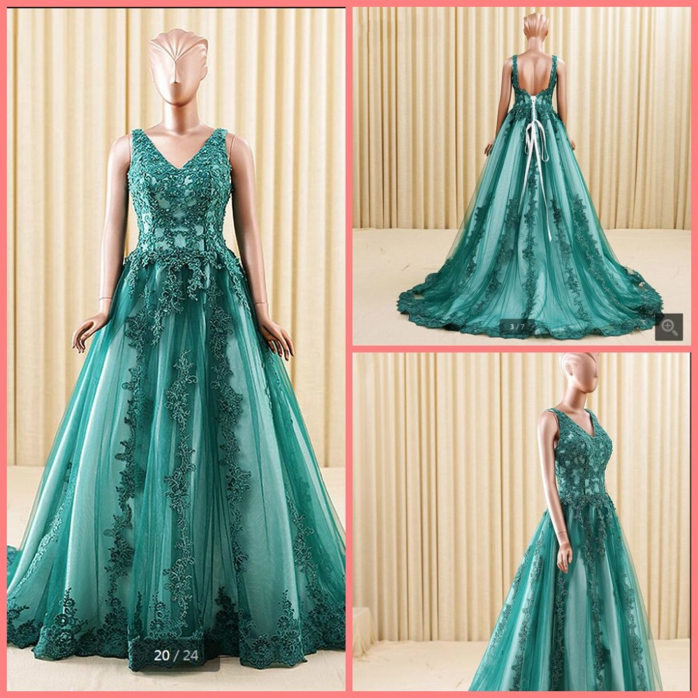 2016 new designer ball gown lace appliques   prom     dress   v neckline backless sexy formal   prom   gowns beading   prom     dresses