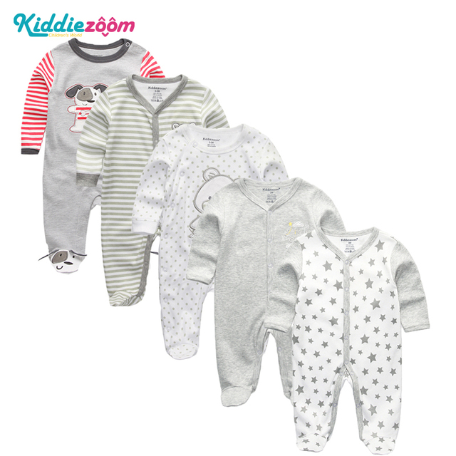$ US $12.25 3/4/5Pcs/set Super Soft Cotton Baby Unisex Rompers Overalls Newborn Clothes Long Sleeve Roupas de bebe Infantis Boy clothing Set