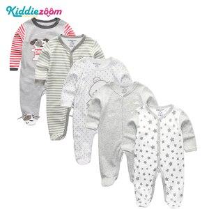 Image 1 - Conjunto de mamelucos Unisex de algodón supersuave para bebé, ropa de manga larga para recién nacido, infantil, 3/4/5 unidades