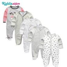 Roupas de bebês unissex 3/4/5, pçs/set algodão super macio adequado para ambos os sexos macacão de bebê roupas de bebê com mangas compridas conjunto de roupas infantis para meninos
