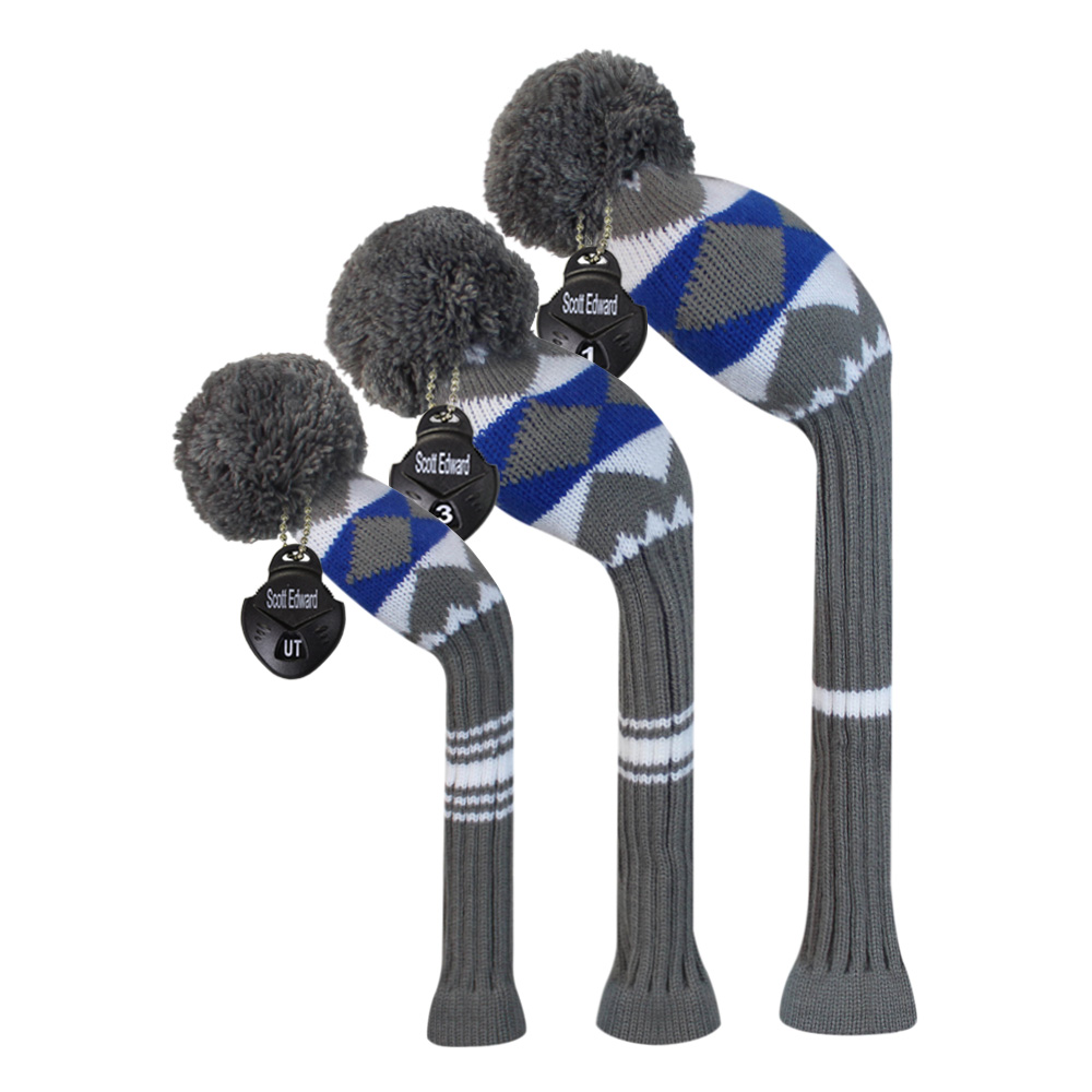 Individualized Alien Pattern Style Knit Golf Headcovers, Set of 3 for Driver, Fairway and Hybrid, Golf Gift.