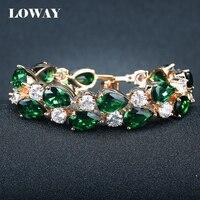 LOWAY Gold Plated Elegant Retro Charm Bracelet For Women Luxury Green AAA Zircon Femelle Bijoux SZ3840
