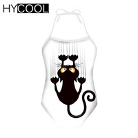e962df3a9fc4e HYCOOL Black Cat Printing Swimsuit Girls 3 8 Year Kids Swimwear Summer  Swimming Suit For Toddler