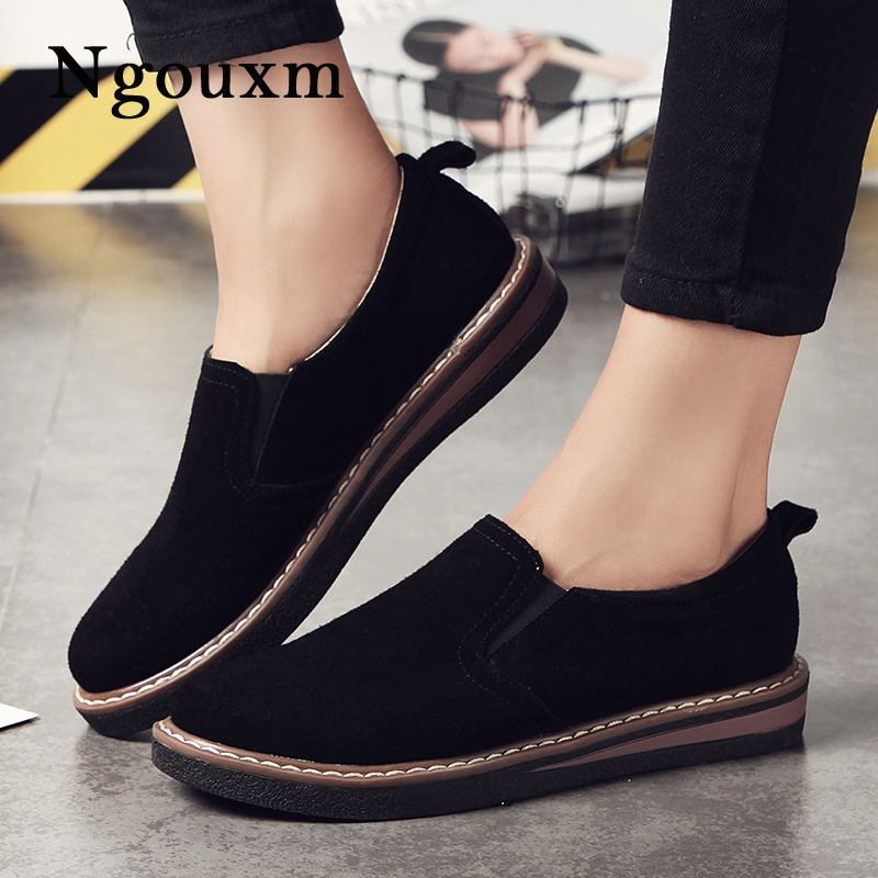 все цены на Ngouxm Women flats loafer oxford shoes for women genuine leather footwear slip on moccasin shoe oxfords black ladies suede flat