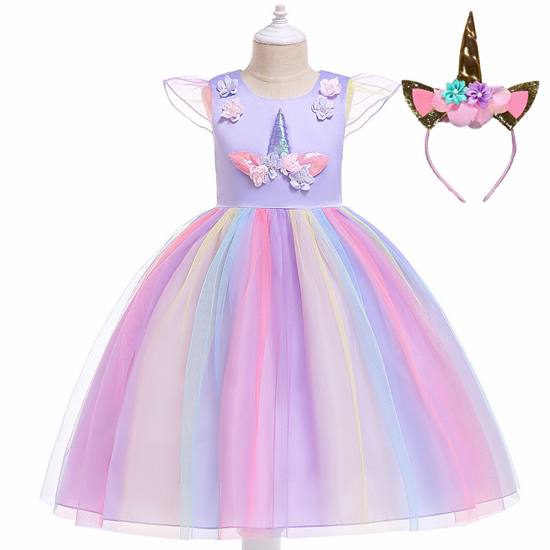 2019 Girls Easter cosplay Unicorn Dress Children's day Princess Birthday Party Dress Kids Halloween christmas Children Costume