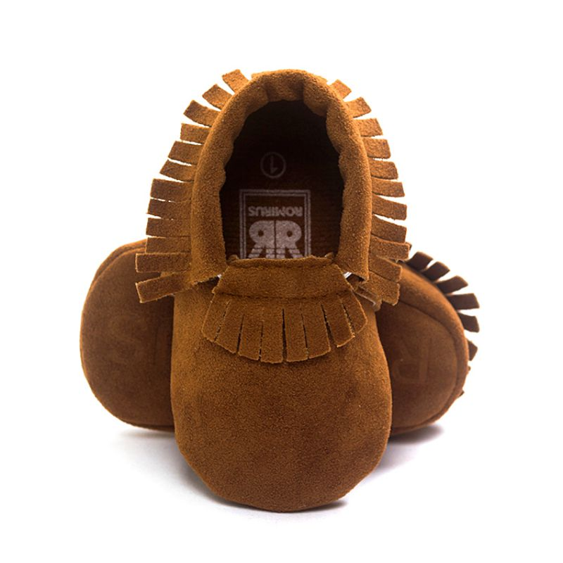 Newborn Baby Boy Girl Tassel Soft Soled Non-slip Crib Shoes Infant Coral Velvet Moccasins