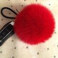 10 cm Real Pele De Raposa Bola Chaveiro nas Teclas Real Fofo Pompom de pele Carro para Casais Chaveiro Bola de Pêlo gorro De Pele gorro