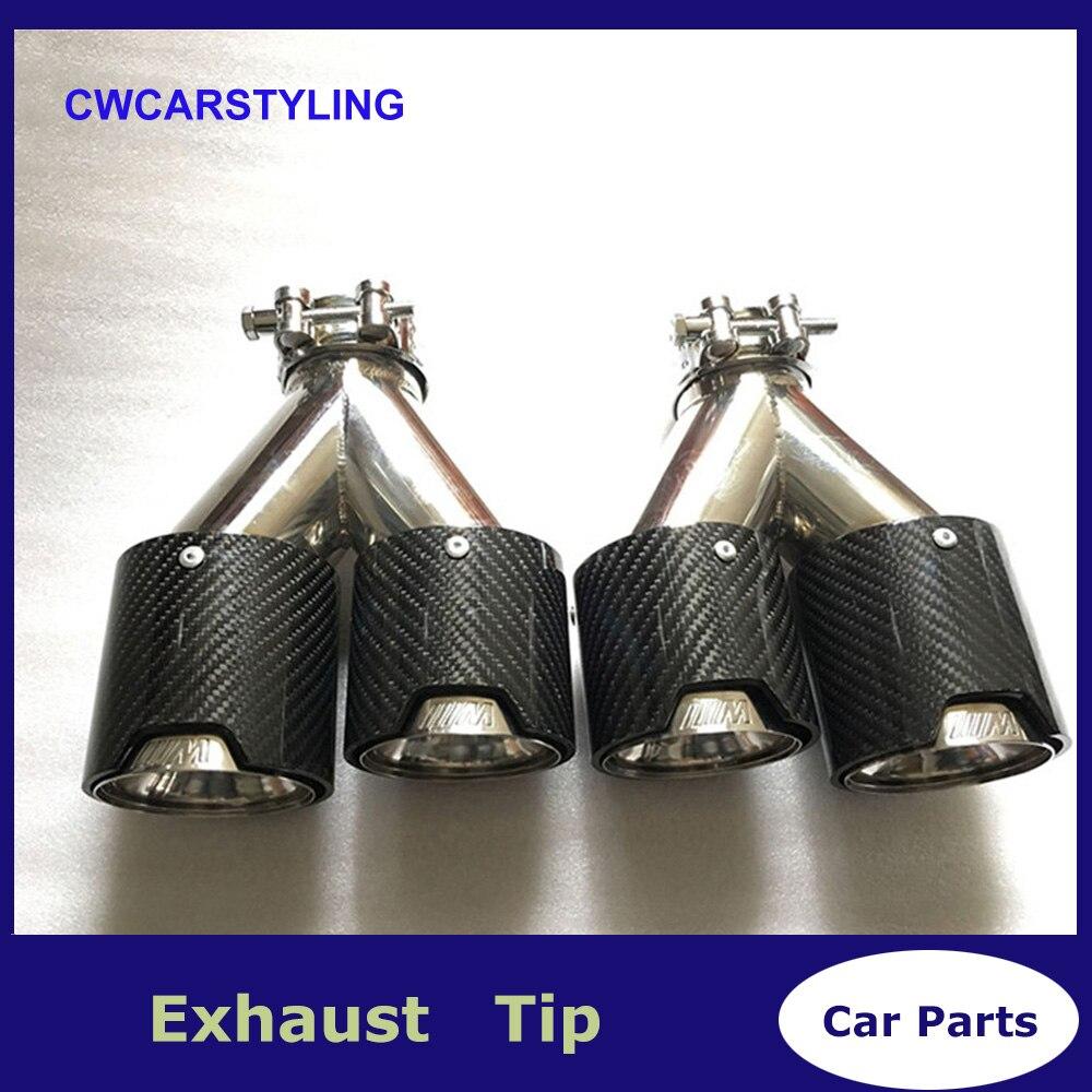 Une paire Y style M étiquette en acier inoxydable voiture carbone brillant pointe d'échappement de voiture tuyau d'échappement style de voiture d'échappement pointe de silencieux Akrapovic