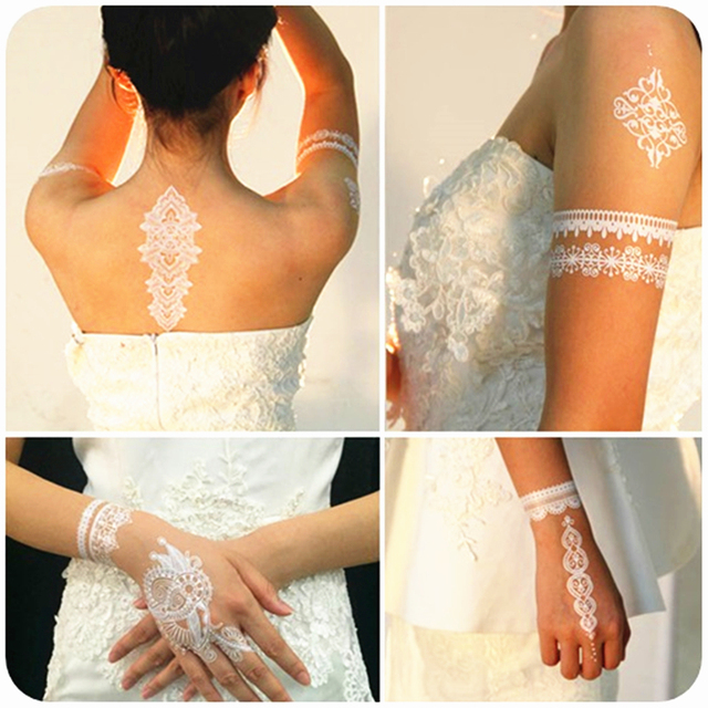 Wedding Bride Styling White Lace Temporary Tattoo Body Art Flash Tattoo Stickers 21x15cm Waterproof Henna Tatoo Wall Sticker