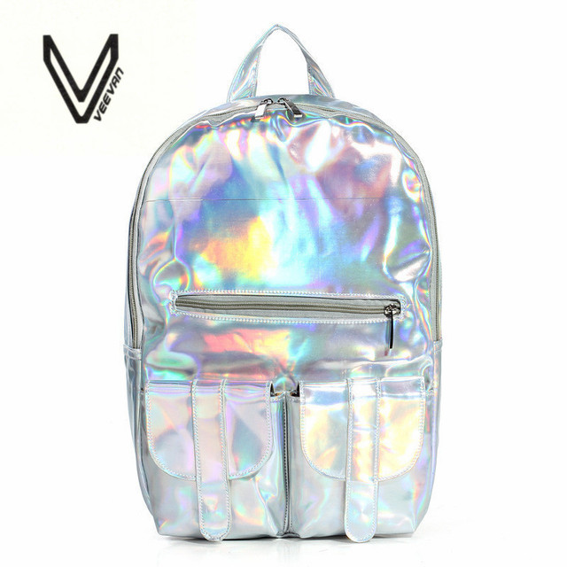 2016 Summer New Style Silver holographic laser backpack women PU Backpack  Travel Bag multi color school friends the best gift f012699c6a7bd