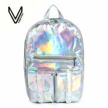 2016 Verano Nuevo Estilo de Plata holográfica láser mochila PU de las mujeres Mochila Bolsa de Viaje multicolor escuela amigos el mejor regalo