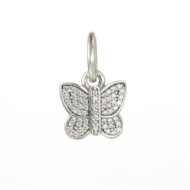 7f36464f6 925 Sterling Silver Sparkling butterfly with White light paving European  charm beads fits Pandora bracelets and necklaces LW501