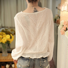 Hollow out Lace Blouse Long Sleeve Sexy Loose White Tops