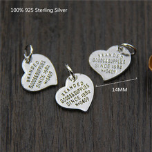 100% 925 Sterling Silver Women Necklaces Heart Engraved Text Simple Pendants Necklace for Fashion Jewelry 45cm Chain Free