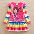 Venta al por menor en 2016 nueva chica de manga larga vestido de niña de moda fuera de uso de algodón bordado niños princess dress Q920