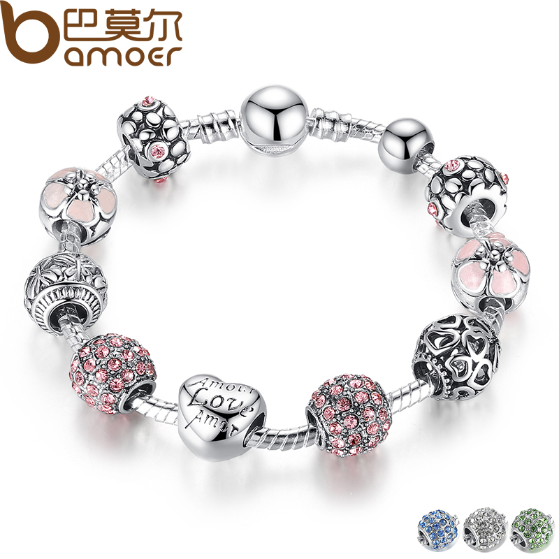 BAMOER TOP SALE Antique Silver Charm Bracelet Bangle with Love and Flower Beads Women Wedding 4
