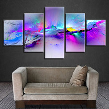Print Posters Modern Wall Art Frame 5 Pieces Color Abstract Graffiti Scenery Pictures Modular Canvas Paintings Living Room Decor(China)
