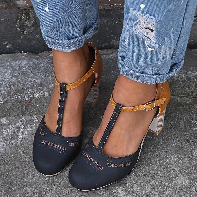 Oeak 2019 ใหม่รองเท้าแตะหนังส้นแพลตฟอร์มรองเท้าแตะรองเท้าแตะรองเท้าฤดูร้อนรองเท้าแตะส้นรองเท้าแตะ Sandalias zapatos de mujer