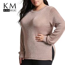 Kissmilk 2018 Plus Size Women Solid Sweaters O-Neck Long Sleeve Pullovers female Casual Sweater Big Large Size Lady Sweaters все цены