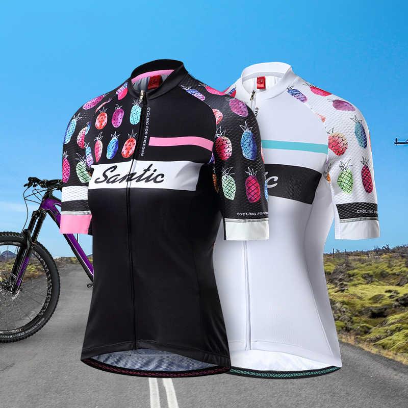 Santic 2019 נשים רכיבה על אופניים קצרים שרוול ג 'רזי פרו נוגד החלקת שרוול MTB כביש אופני חולצה גבירותיי מאיו Ciclismo קיץ שחור לבן