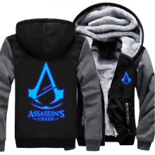 USA Size Men Women Assassins Creed Luminous Jacket Sweatshirts Thicken Hoodie Coat Clothing Casual(China)
