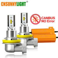 CNSUNNYLIGHT No Flicker H11/H8 9005 9006 LED Car Head Front Fog Lights Error Free 35W/Bulb White HB3 HB4 H9 H16jp Auto Fog Lamps