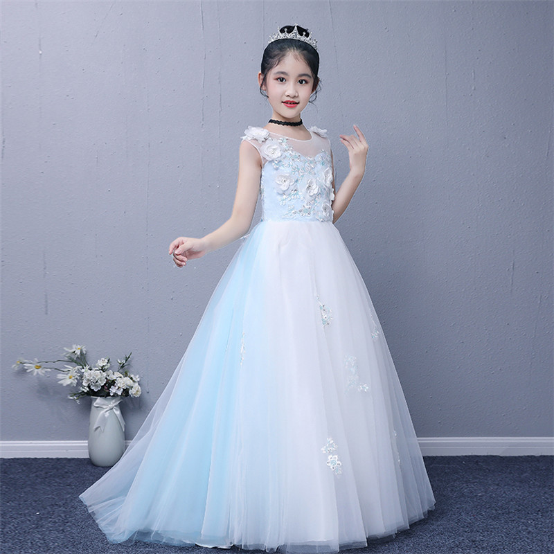Kids Children Luxury Long Tailing Ball Gown Pageant Dress For Wedding Birthday Girls Appliques Flowers Mermaid Princess Dress