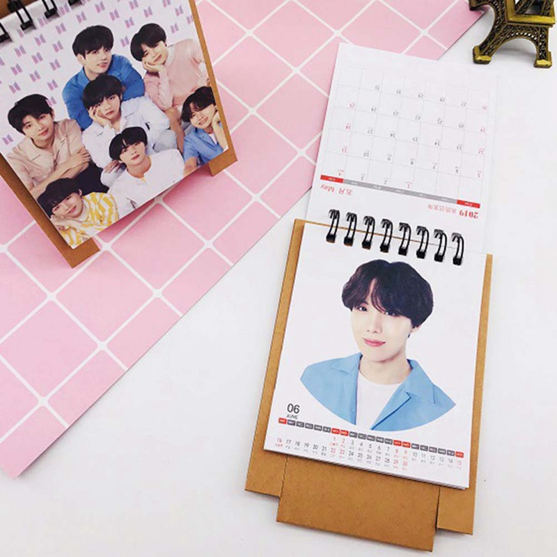 Fashion Style 2019 New Kpop Bts Love Yourself 2019 Mini Desktop Calendar Jungkook V Photo Picture Army Gift Office Supplies Elegant Appearance Calendars, Planners & Cards
