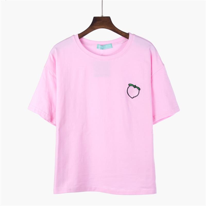 2018 sommer T Shirt Frauen Tops Pfirsich Ananas Banane Kirschfrucht Candy Farbe Bestickt kurzärmeliges T-shirt Lose T Shirts