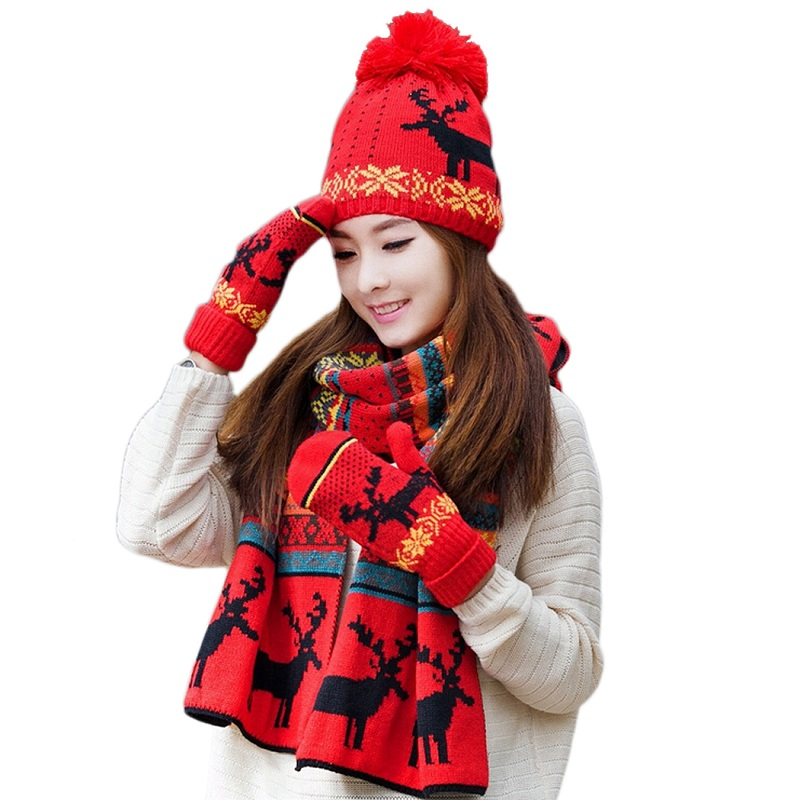 58be7528028 Winter Wool Scarf Women Scarves Christmas Gift Box Deer Pashmina Shawls  Wrap for Girls Xmas Mittens Hat Knitted Scarf Dress Up