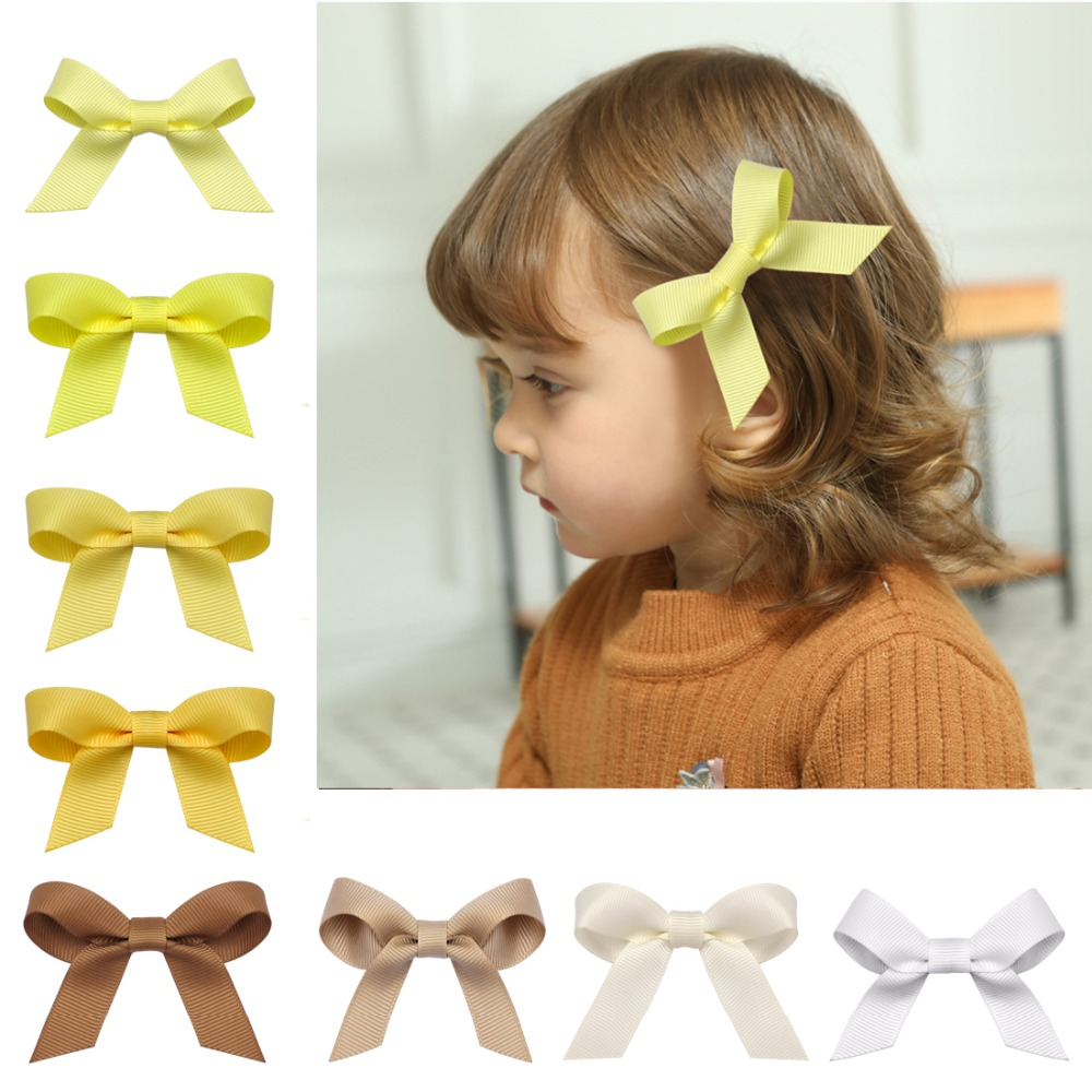 40pcs/set Baby Girl Solid Bow Hair Pin With Fully Wrapped Bowknot Hair Clip Safety Alligator clip Kids Hair Accessories 20pcs cute hair bows boutique alligator clip grosgrain ribbon for girl baby kids t026