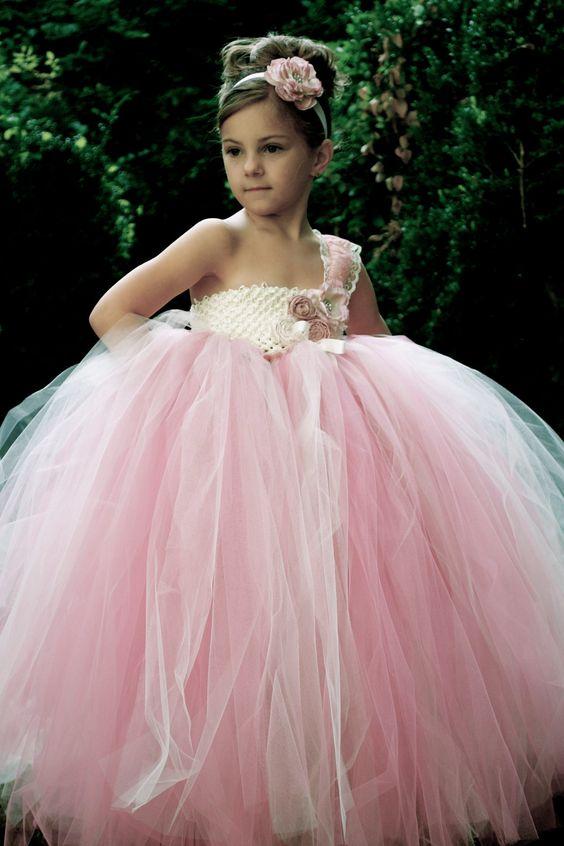Blush Pink Girls Dreses 2 8Yrs Kids Girl Tutu Dress For -4142
