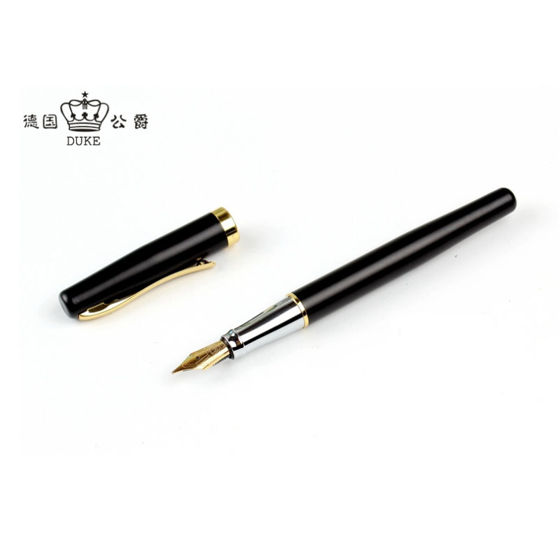 Germany Duke 209 Matte Black Fountain Pen Gift Pens with 0.5mm Writing Point Luxury Writing Pens for Student And Business duke 318 art nib fountain pen 0 8mm 1 0mm writing point calligraphy pen iraurita writing pens with an original box free shipping