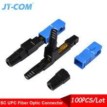 100 個高速コネクタ SC UPC 光ファイバシングルモード配線ケーブルクイックコネクタ組み込み光学コールド接続 FTTH ツールキット