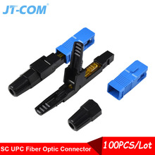 100PCS מהיר מחבר SC UPC סיבים אופטי מצב יחיד חיווט כבל מהיר מחבר אופטיים מוטבעים קר חיבור FTTH כלי ערכת