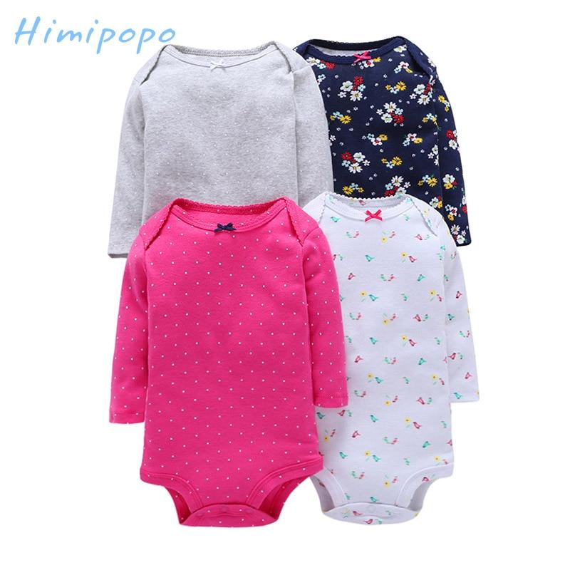 Himipopo 4 pcs Baby Boys Girls Original Bodysuit Infant Jumpsuit Cotton Print Long Sleeve Baby Clothing