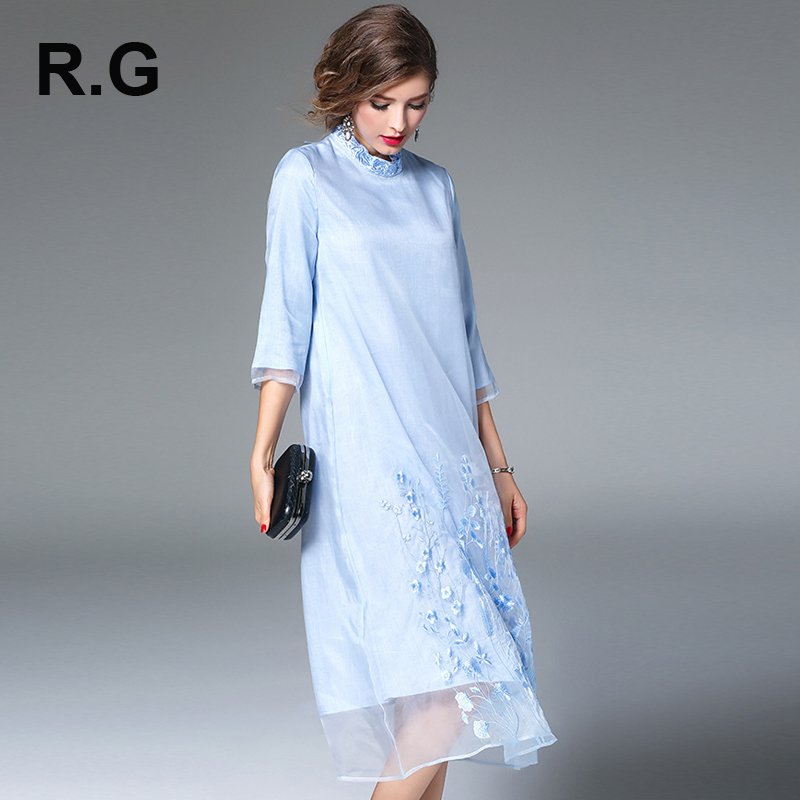 RG Runway Designer A Line Dress Women Chinese Style Gauze Retro Noble Floral Embroidery Long Dresses Spring Summer vestidos