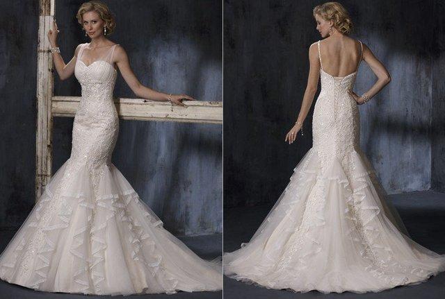 Freeshipping Brand New Mermaid style Spaghetti Strap Tulle Wedding Dress Bridal Gown