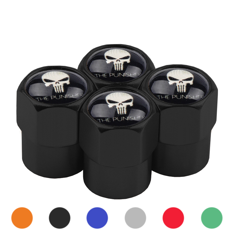 4x Car Styling Stainless Aluminum Alloy The Punisher Skull Car Tire Valve Caps Wheel Tires Valves Tyre Stem Air Cap Accessories