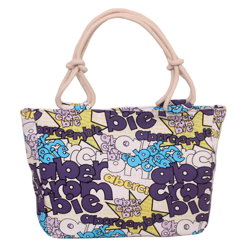 Fashion Folding Women Big Size Handbag Tote Ladies Casual Flower Printing Canvas Graffiti Shoulder Bag Beach Bolsa Feminina 6