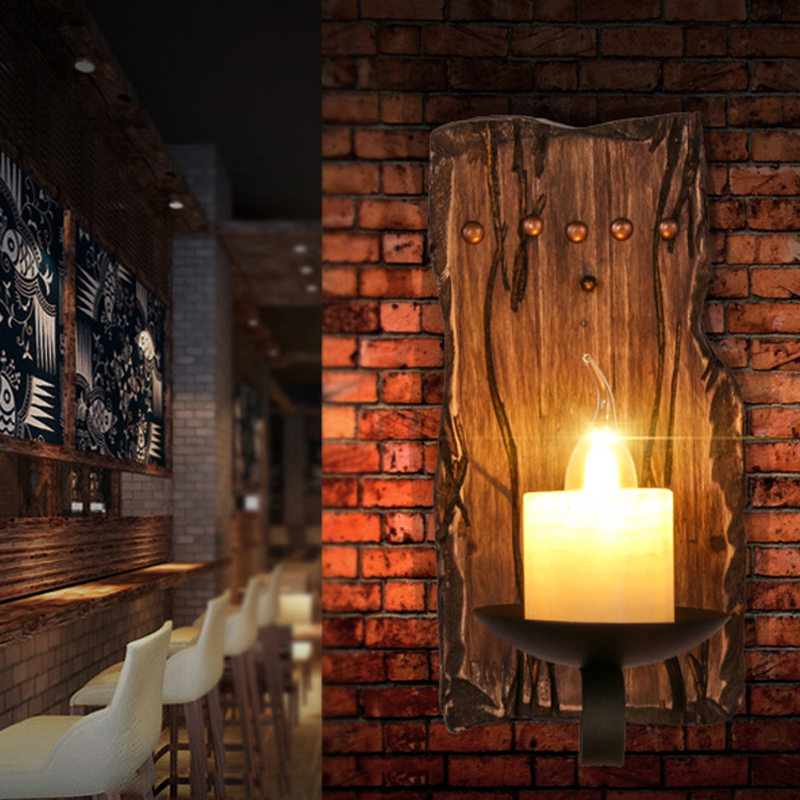 led e14 Loft Industrial Iron Wood Glass LED Lamp LED Light Wall lamp Wall Light Wall Sconce For Bar Store Foyer Bedroom norbic creative loft wood wall sconce lamp with switch home deco bedroom iron bell lampshade e27 bulb wall light fixture
