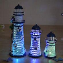 Hecho a mano Vintage Mediterráneo faro LED noche Torre Estrella peces conchas salvavidas decoración náutica hogar iluminación regalo