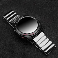 Full Ceramic Watchband 20mm 22mm for Samsung Galaxy Watch 42mm 46mm SM R810/R800 Steel Butterfly Buckle Strap Watch band Strap