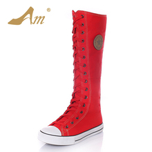 AME Women Plus Size 34-43 knee High Boots Fashion Woman Lace up Zip Canvas Mid Calf Flats Boots Casual Punk Shoes Girls