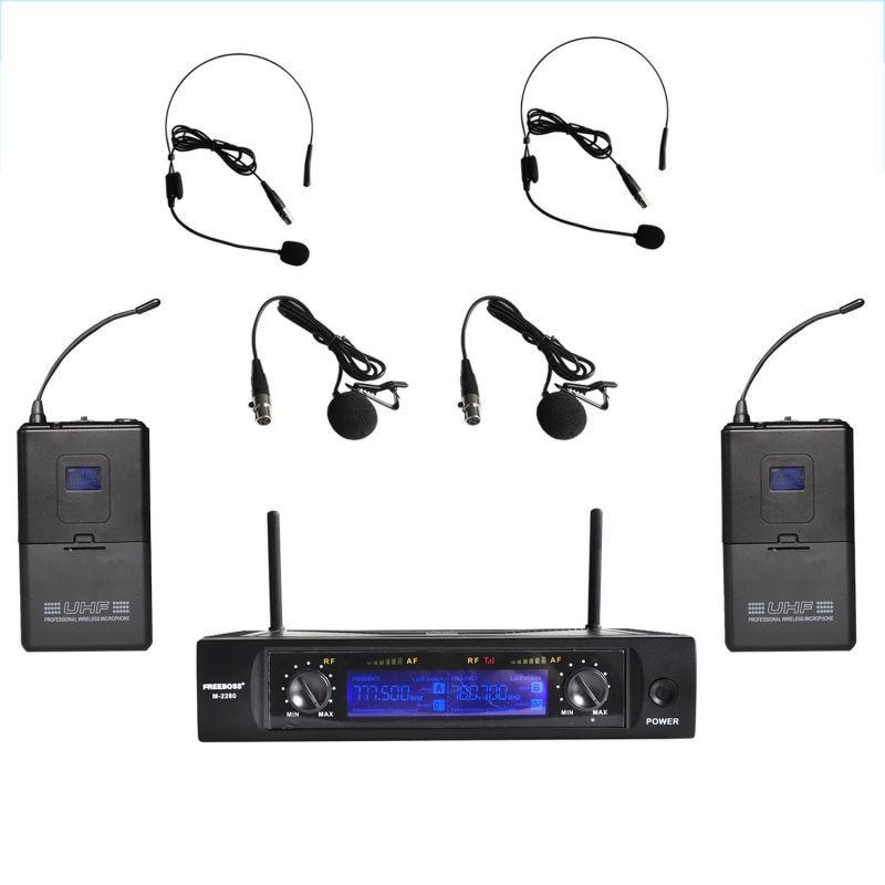 Freeboss M-2280 50M Distance 2 Channel Headset Mic System Stage Karaoke UHF Wireless Microphone (Brazil Sao Paulo Stock No Tax)