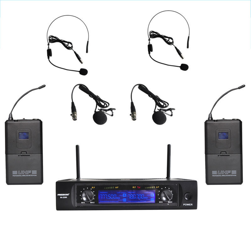 Freeboss M-2280 UHF Wireless Microphones with Screen 50M Distance 2 Channel Headset Mic System Stage Karaoke Wireless Microphone