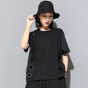 Image 2 - [Eem] 2020 yeni bahar yaz yuvarlak boyun kısa kollu siyah Hollow Out bölünmüş ortak büyük boy T shirt kadın moda gelgit JW045