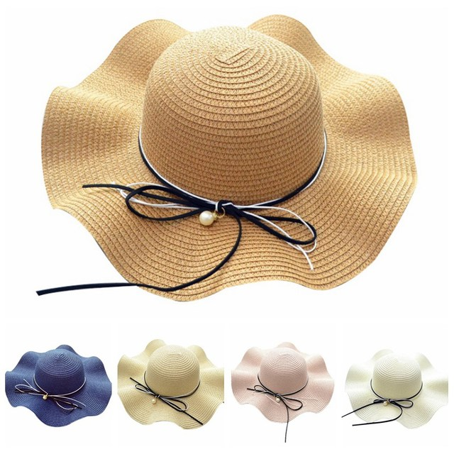 0253902f 2018 Summer Straw Hat Women Fashion Wide Brimping Brim Beach Cap Sun Block  UV Protection Panama